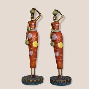 "Set of 2 12"" African women statues"